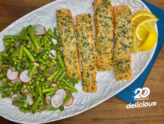 Mustard-and-Herb-Crusted Salmon with Warm Asparagus Salad