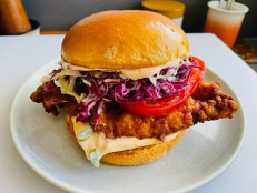 Fried Chicken Sandwiches with Tangy Coleslaw and Spicy Mayo