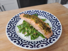 Basil-Crusted Salmon with Snap Pea Salad