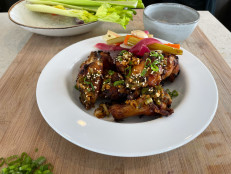 Air Fryer Chicken Wings with Soy Glaze and Quick-Pickled Vegetables