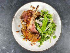 Red Curry Rack of Lamb with Warm Snow Pea Salad