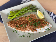 Sole with Savory Bread Crumb Topping and Roasted Asparagus