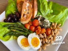 Greens and Beans Salad with Baked Goat Cheese and Jammy Eggs