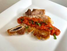 Skillet Pork Chops with Rhubarb Sauce