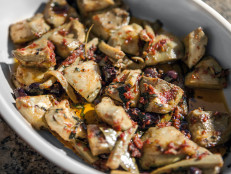 Artichokes Braised with Olives and Mint