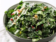 Kale Salad Quinoa, Pistachios and Pomegranate Seeds