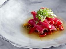 Sliced Tuna Tataki, Roasted Peppers, Chili, and Citrus