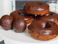 Dark Chocolate Glazed Donuts