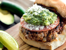 Chorizo Burgers with Tomatillo-Avocado Salsa