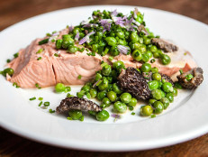 Poached Wild Salmon with English Peas