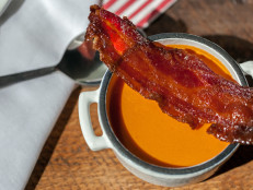 Tomato Soup with Maple-Candied Bacon