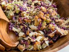 Parmesan Cabbage Salad with Buttery Croutons