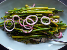 Asparagus with Salsa Verde and Pickled Onions