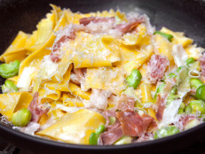 Fresh Pappardelle with Favas and Prosciutto