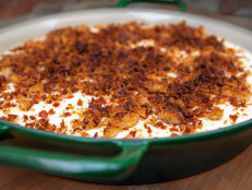 White Grits and Cheddar Pudding with Bacon Bread Crumbs