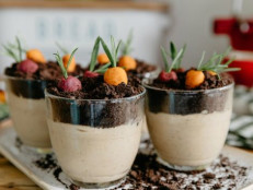 Peanut Butter Pudding Dirt Cups with Marzipan Veggies