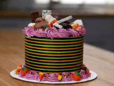 Striped Halloween Candy Cake