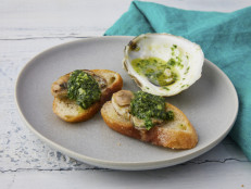 Roasted Oysters with Parsley Butter on Toast