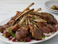 Lamb Chops with Fennel, Arugula, Red Onion and Black Olive Salad