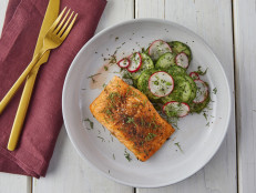 Broiled Arctic Char with Marinated Cucumber and Radish Salad