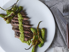 Chimichurri Skirt Steak with Grilled Shishitos