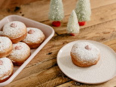 Cranberry Cream Cheese Stuffed Sufganiyot