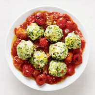 Swiss Chard Gnudi with Tomatoes