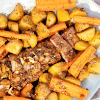 Encore: Sheet Pan Roasted Garlic-Balsamic Pork Tenderloin with Potatoes and Carrots