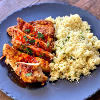 Grilled Harissa Chicken Breasts with Herbed Couscous (Sponsored)