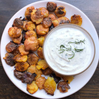 Salt and Vinegar Smashed Potatoes with Herbed Yogurt Dip