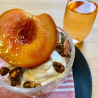 Rose-Poached Peaches with Whipped Mascarpone