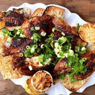 Spicy Grilled Butterflied Chicken with Crispy Bread