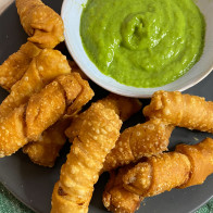 Tequeños with Guasacaca (Venezuelan Fried Cheese Sticks with Avocado Sauce)