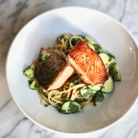 Crispy Salmon with Miso-Honey Noodles