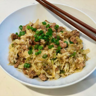 Chorizo and Cabbage Stir-Fried Noodles