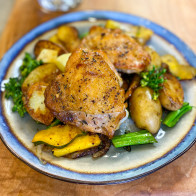 Chicken Thighs with Apples, Acorn Squash and Potatoes